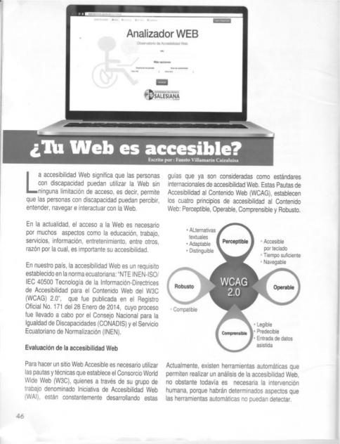 Herramienta de Accesibilidad web en Boletín No 23 del CONADIS