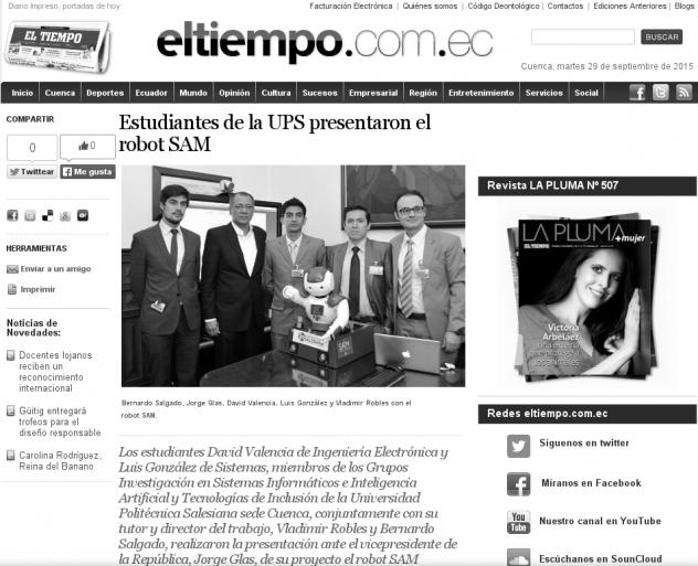"""Noticia del robot SA³M en el Diario """"El Tiempo"""""""