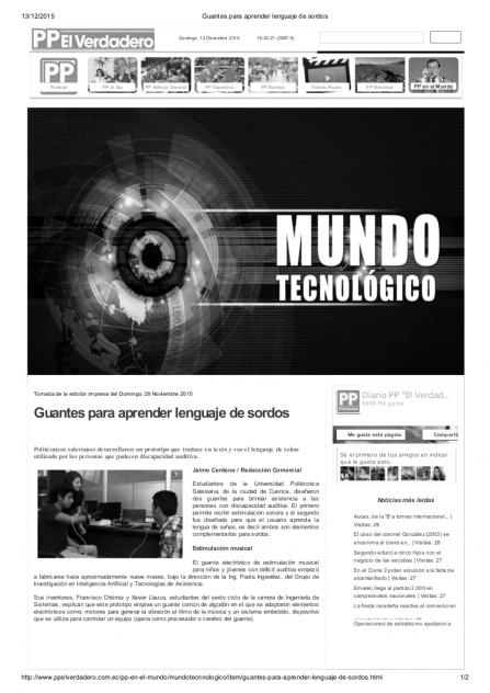 """Guantes para aprender lengua de señas y poder """"sentir la música"""". Dos proyectos desarrollados en la UPS."""