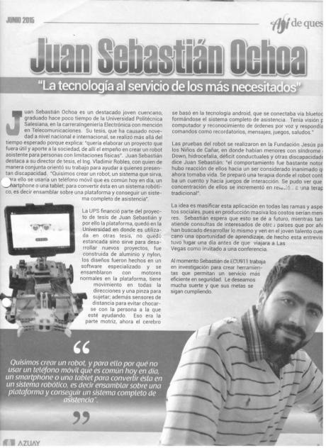 Noticia del robot Robodroid en el Periódico Ají de la Prefectura del Azuay