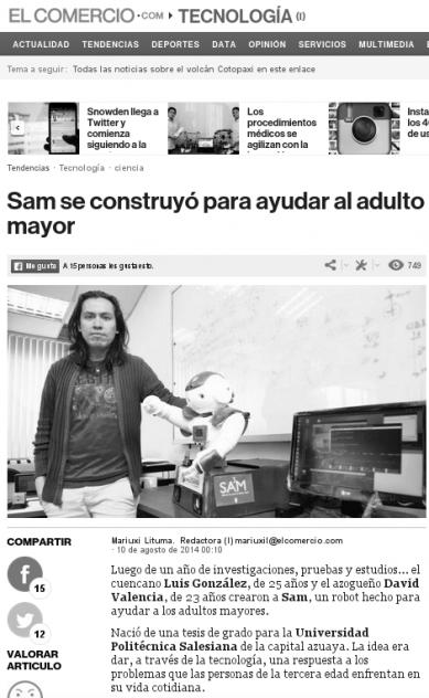 """Noticia sobre el robot SA³M (Sistema Autónomo de Apoyo al Adulto Mayor) publicada en el diario """"El Comercio"""""""