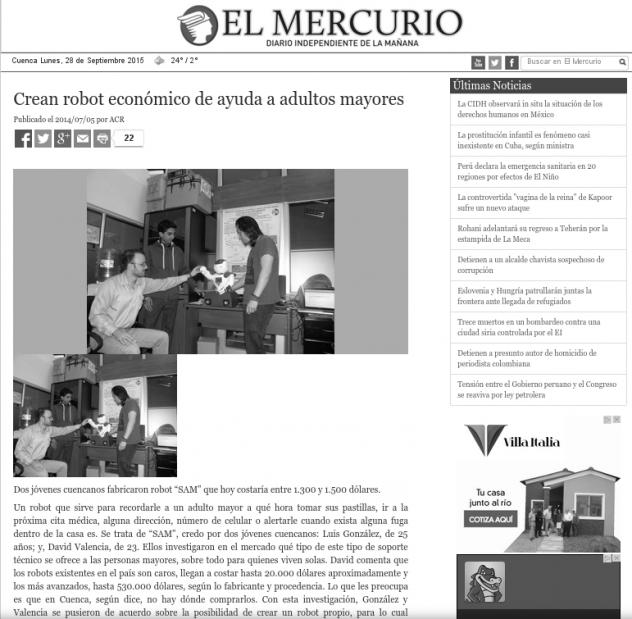 Noticia del Robot SAM publicada en el Diario El Mercurio