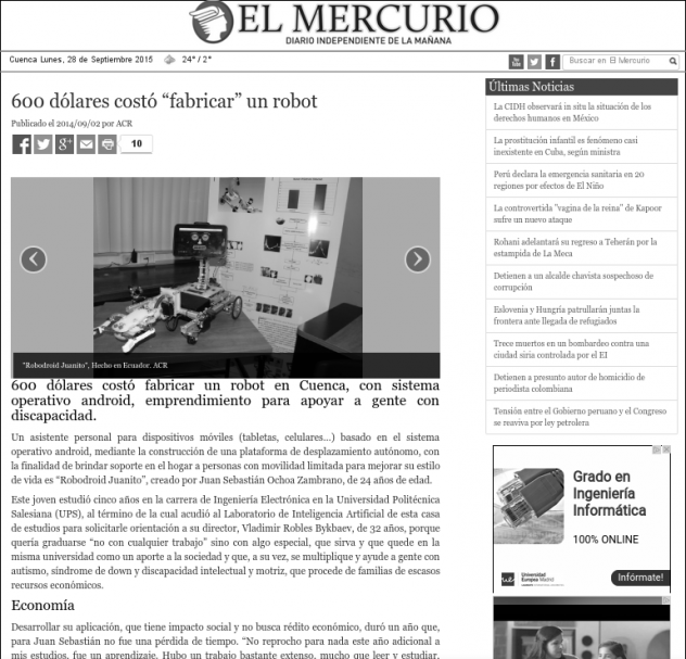 """Noticia del robot Robodroid Publicada en el Diario """"El Mercurio"""""""